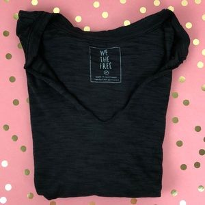 We the Free V Neck Distressed Tee Free People M